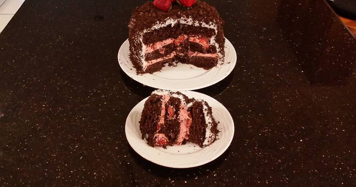 Chocolate Layer Cake with Strawberry Cream Filling, White Chocolate Ganache Frosting coated with a Chocolate Crumble