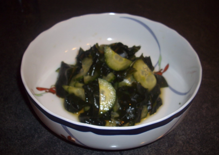 Refreshing cucumber and wakame (sea vegetable) sweet and sour salad