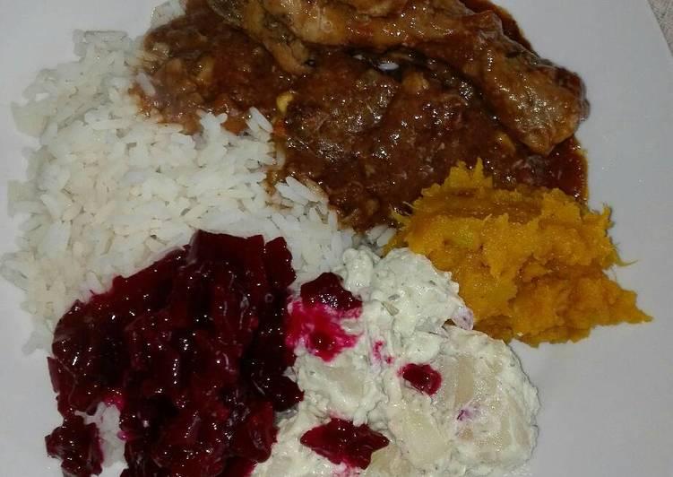 Recipe: Yummy Chicken stew and salads