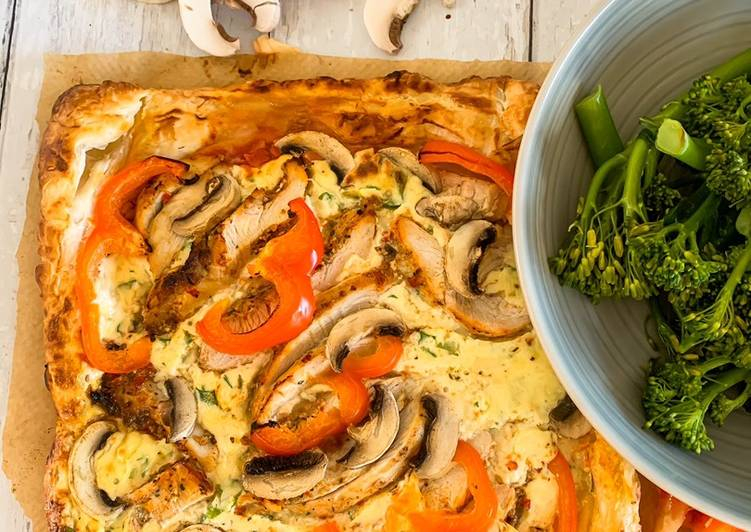 Cajun Chicken Puff Pastry Pizza