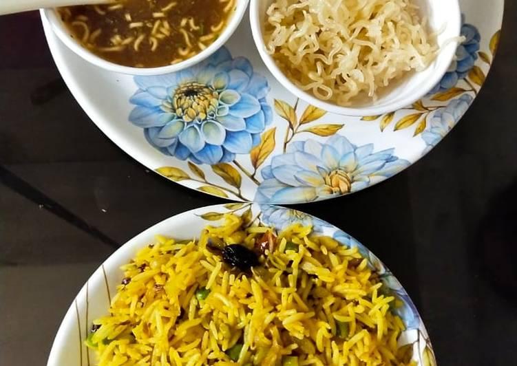 Veg biryani mounchrian soup and salad with fried Maggie