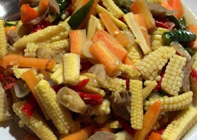 Tumis baby jagung dan wortel super pedas