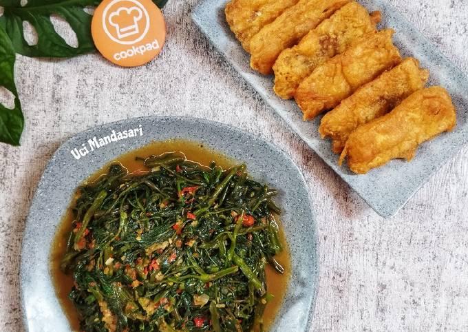 tumis kangkung dan tempe goreng tepung - resepenakbgt.com