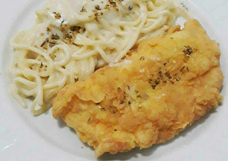 Fish and Creamy Pasta