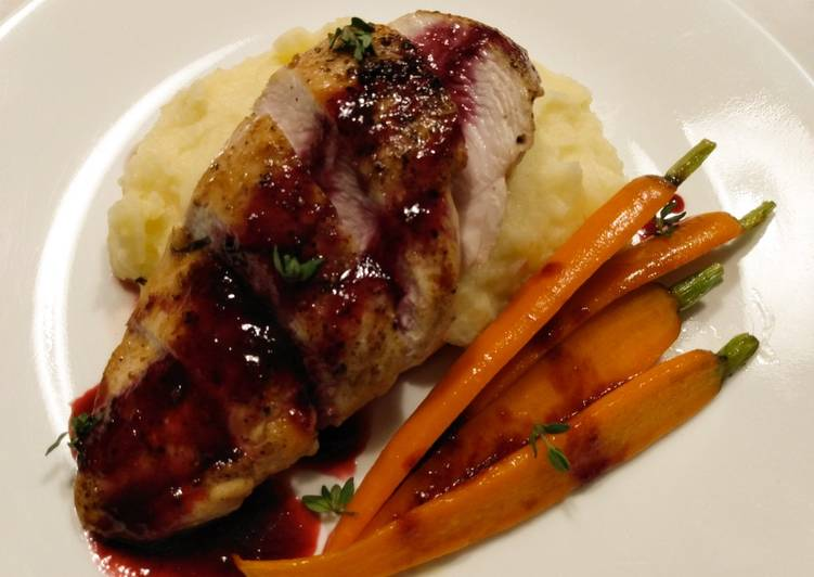Pan-seared chicken with blackberry gastrique