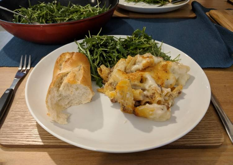 Step-by-Step Guide to Prepare Homemade Greek lamb pastitsio bake with rocket salad