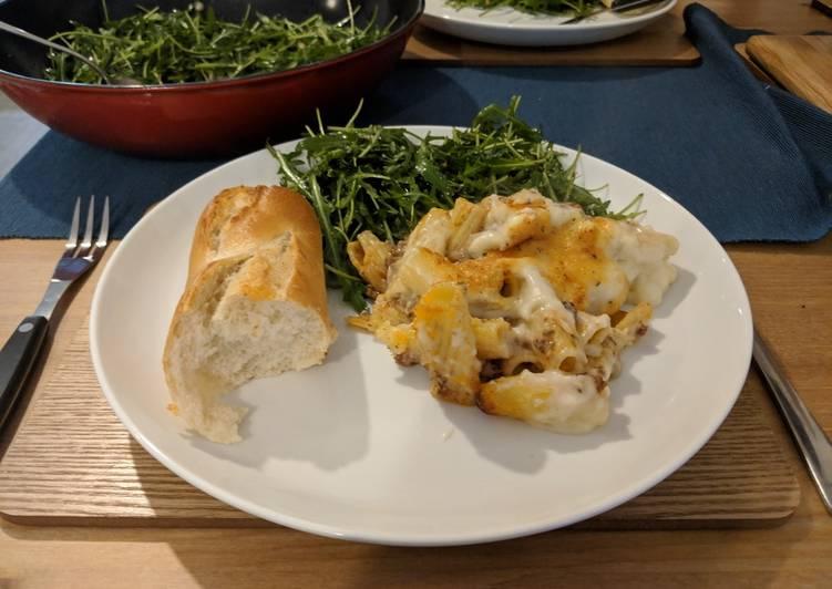 Greek lamb pastitsio bake with rocket salad