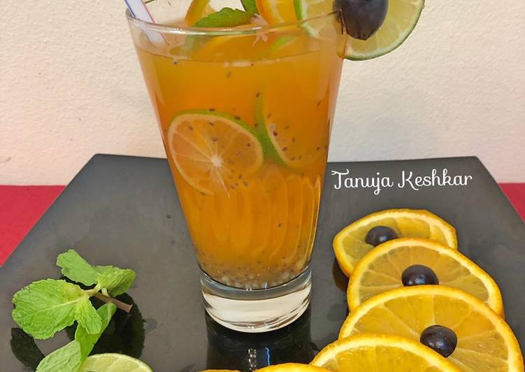 Chia seeds orange detox drink