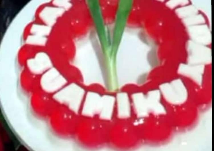Puding merah putih busa