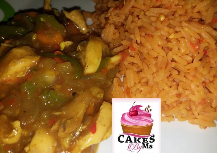 Jallof Rice With Shredded Chicken