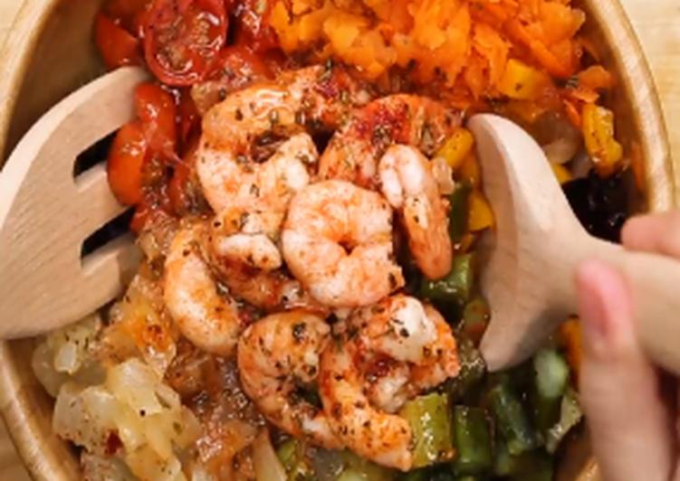 Comment Préparer Les Salade de légumes et crevettes au four