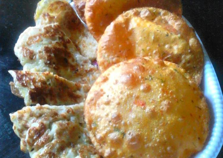 Tomato pamkin puri and egg banana pancake
