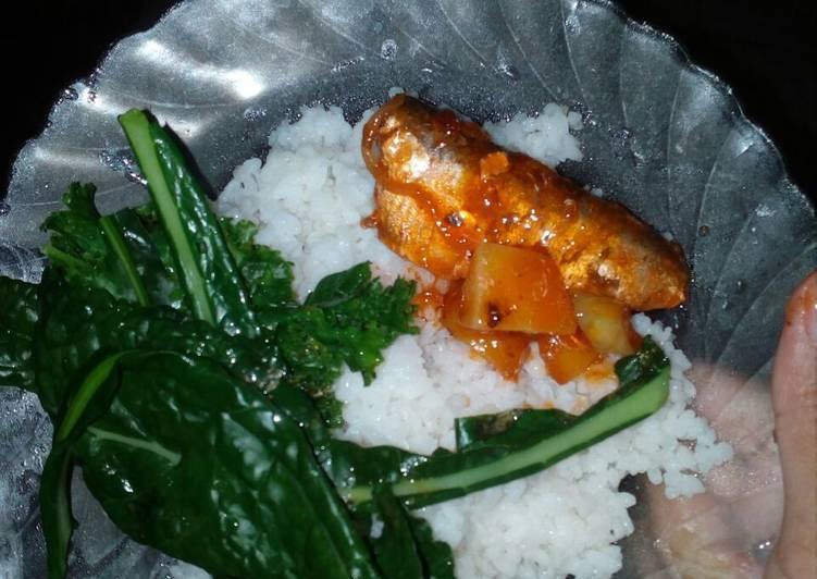 Ikan sarden kaleng + sayur kale black magic