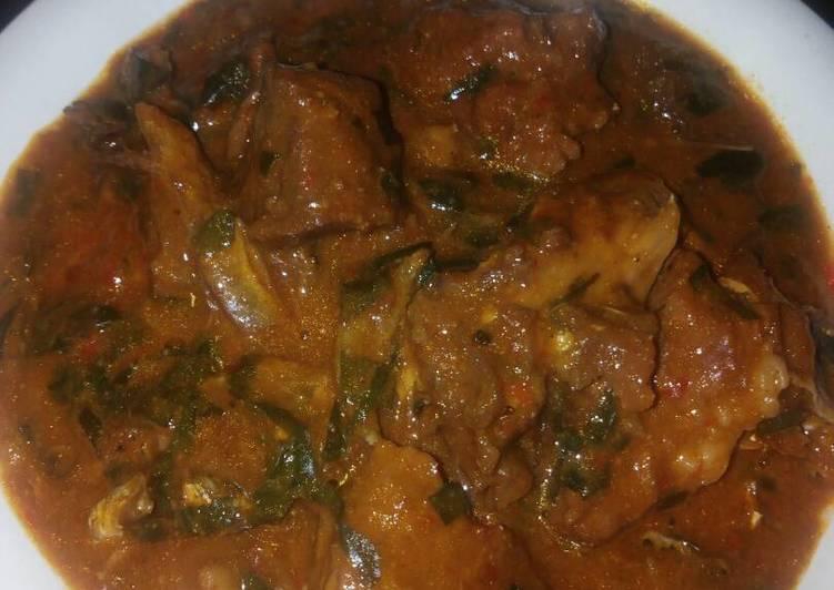 Ogbono soup with uziza leaves