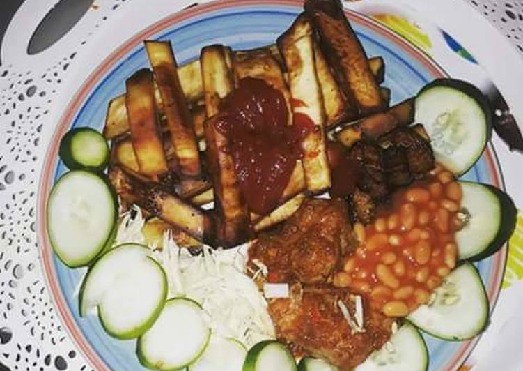 Easiest Way to Make Perfect Fried sweet potatoes with cabbage,cucumber and baked beans