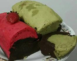 Brownies Kukus Greentea Cokelat dan Red Velvet Cokelat