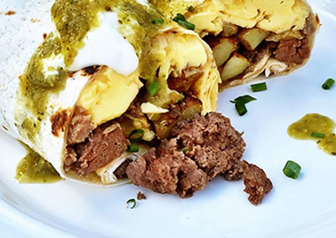 Wagyu Beef Sausage, Potato, and Egg Breakfast Burritos