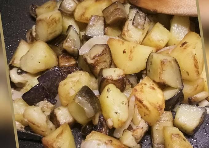 Sauteed potatoes and aubergine