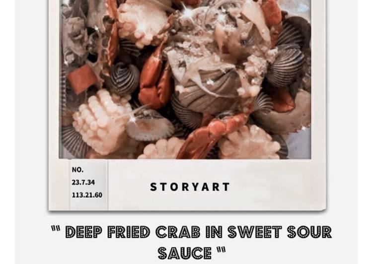 Deep Fried Crab In Sweet Sour Sauce//Kepiting Saos Asam Manis - cookandrecipe.com