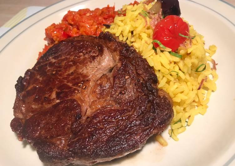 Easiest Way to Prepare Delicious Steak with Turmeric Rice and Chilli Chutney