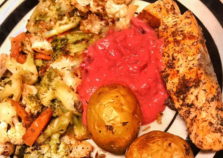 Bowl Pommes grenailles, legumes & Houmous betteraves