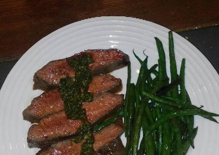 Flat iron steak with Italian salsa verde