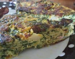 Tortilla de espinaca y otras verduritas