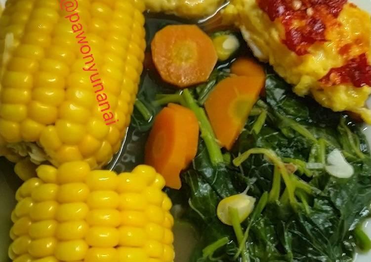 32 ) Menu makan malam sehat (jagung bayam telur)