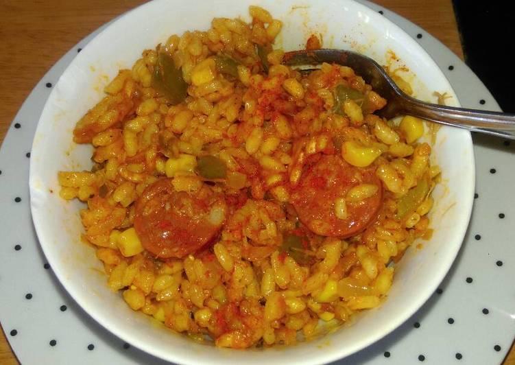 Recipe of Super Quick Homemade Spicy chorizo, smoked mackerel paella 🍀
