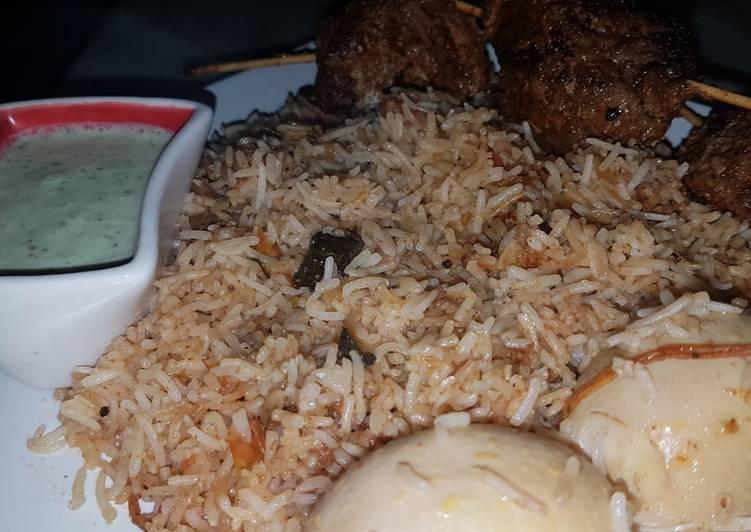 Egg biryani with beef roast