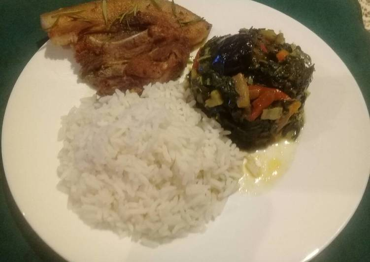 Recipe of Perfect Spinach with brinjal and pork