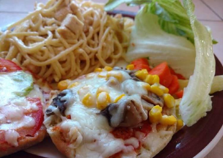 Mini Pizzas Vegetarianas con spaghetti