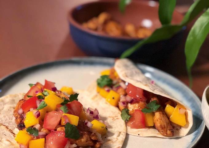 Honey chicken and brown rice tacos with a mango salsa