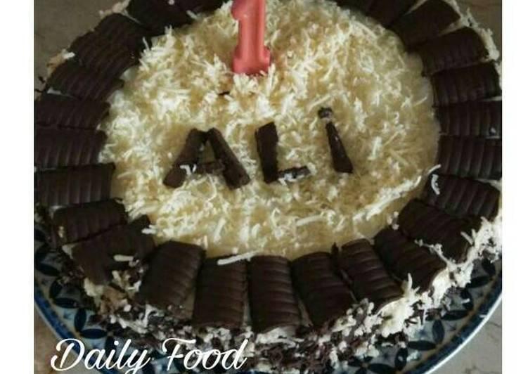 Kue Ulang Tahun Coklat Keju + resep buat butter simpel