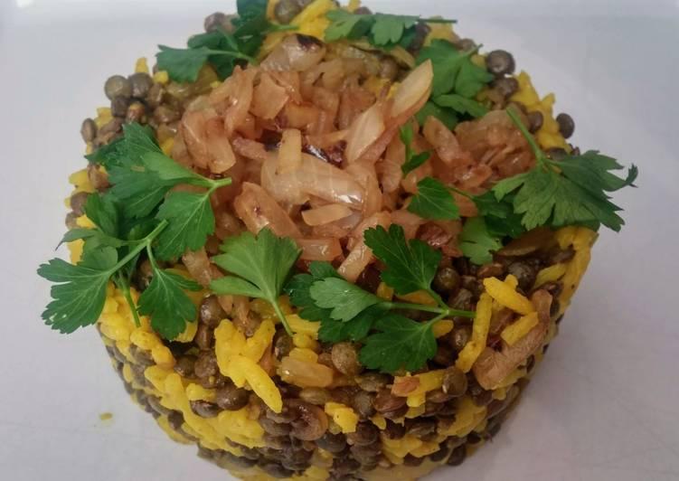 Mujadarra, le riz aux lentilles à la libanaise. (vegan)