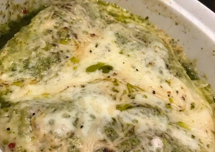 Recipe of Perfect Basil Pesto Chicken With Mozzarella & Parmesan Cheess