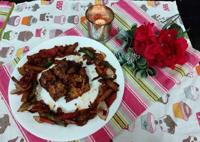 Grilled chicken with veg