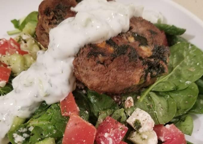 Greek Burgers w/yogurt sauce