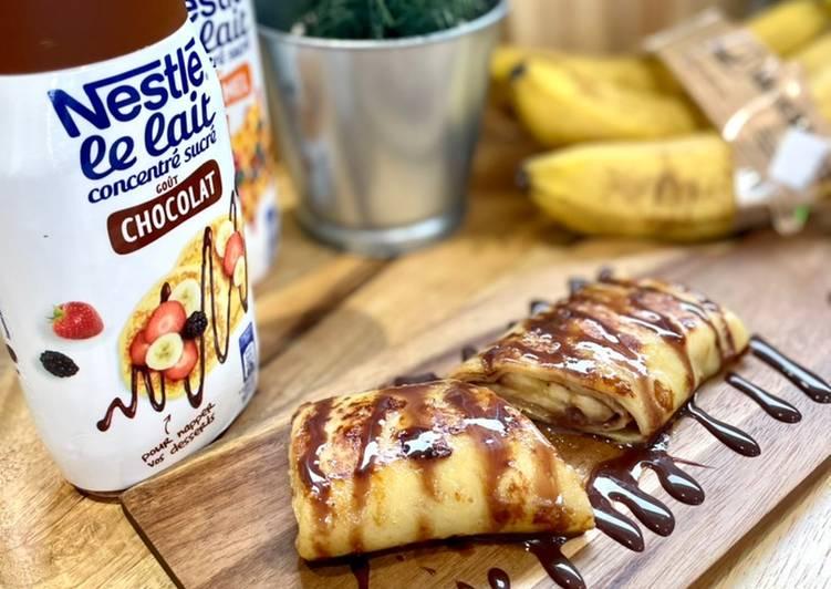 Recette Délicieux Pâte à crêpes à la Banane (et crêpes fourrés à la banane, topping chocolat, flambée au Rhum blanc)