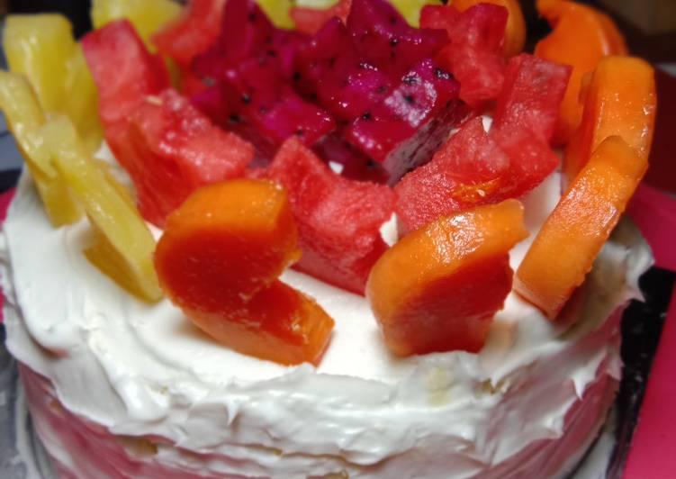 Cake milo keju toping buah
