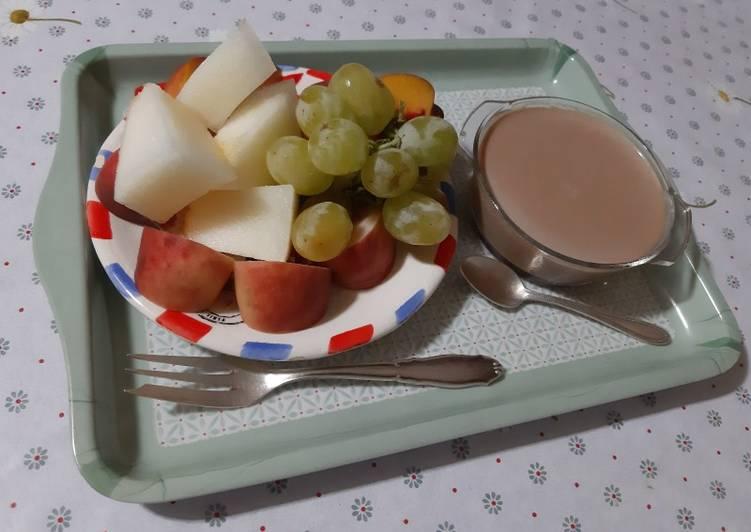 Recette: Flan et des fruits a l'assiette �