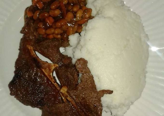 Wet Fried Beef, stewed beans with Ugali