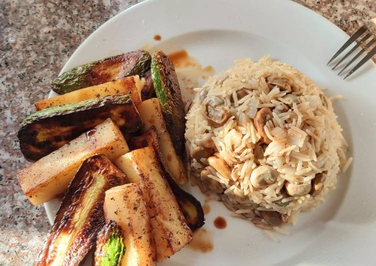 Broad beans rice and veggies