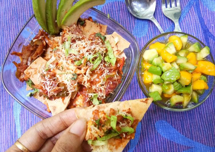 Simple Way to Prepare Award-winning Left-over roti Nachos with Mango-Avocado salad