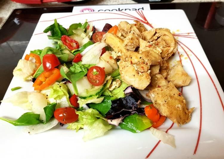 Recipe of Perfect My Peri peri maranated Chicken breast with Salad. 😀