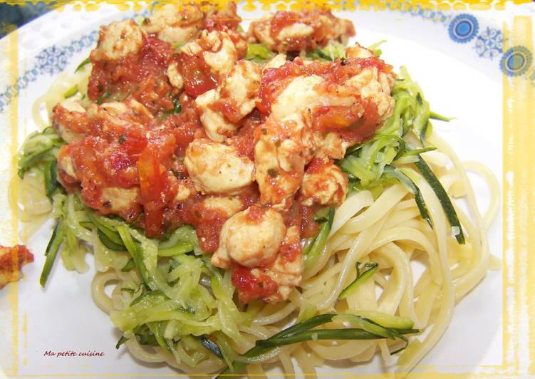 Spaghettis au courgettes et hachis de dinde