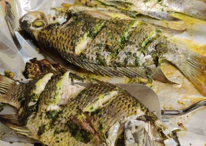 Whole tilapia in herbs and garlic
