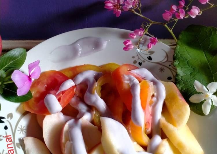 41) menu sehat (nectarin apel tomat) with saus yogurt 🌈🍎🍅
