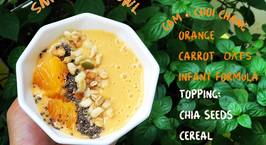 Hình ảnh món Smoothie bowl cam yến mạch carrot sữa cthuc hay sữa tươi topping hạt chia cam ngũ cốc