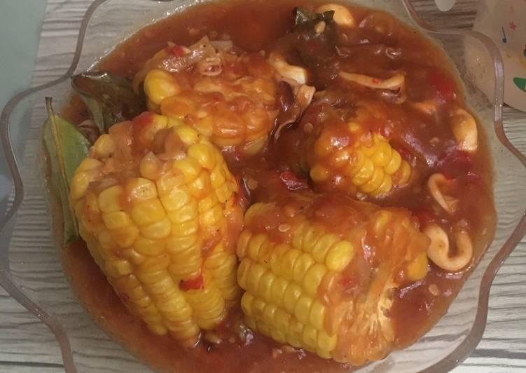 Cumi Saos Padang with Corn